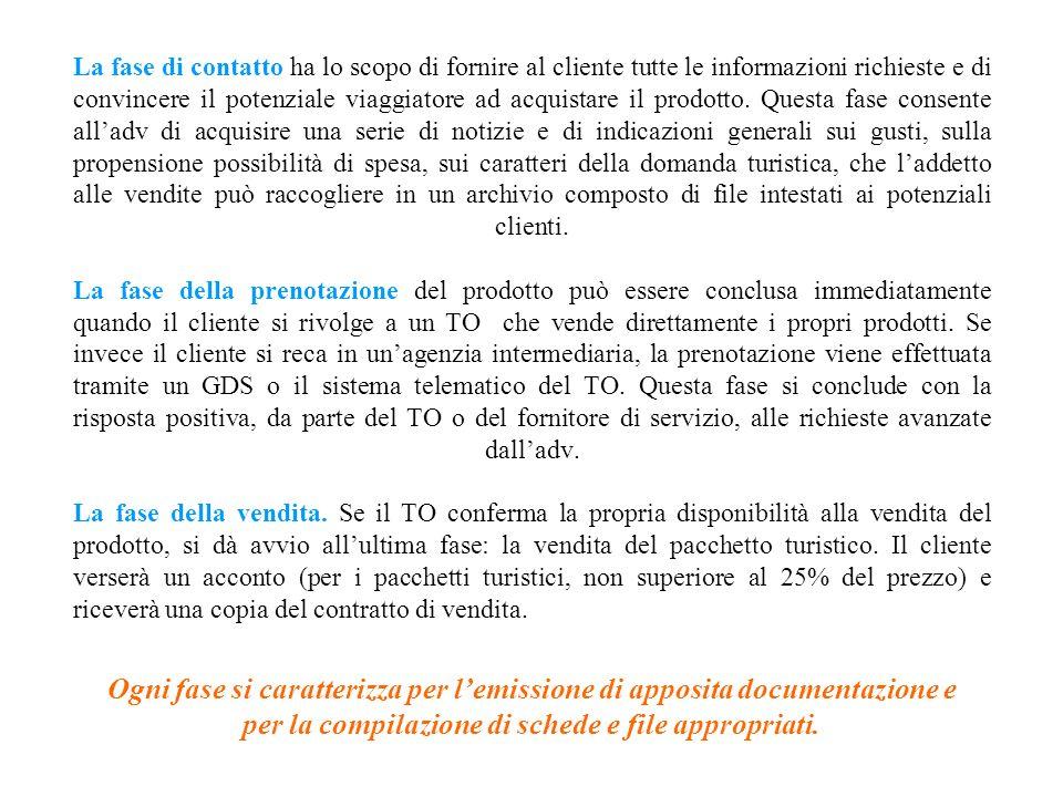 La gestione del Front Office nelle ADV intermediare o nei TO aperti al pubblico, prevede tre fasi: 1.la fase di contatto con il cliente; 2.la fase del