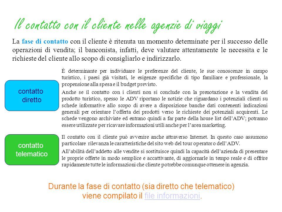 La fase di contatto ha lo scopo di fornire al cliente tutte le informazioni richieste e di convincere il potenziale viaggiatore ad acquistare il prodo