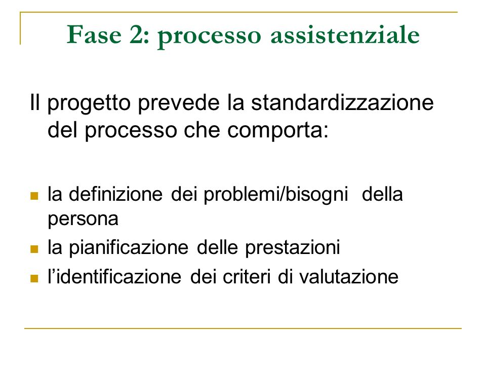 Fase 2: processo assistenziale Il progetto prevede la standardizzazione del processo che comporta: la definizione dei problemi/bisogni della persona l