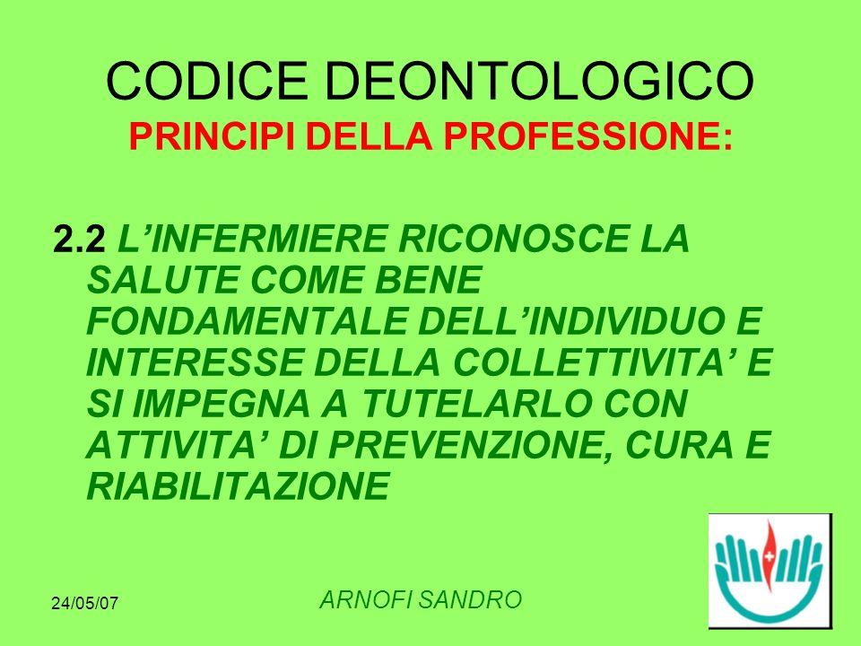 24/05/07 CODICE DEONTOLOGICO PRINCIPI DELLA PROFESSIONE: 2.2 LINFERMIERE RICONOSCE LA SALUTE COME BENE FONDAMENTALE DELLINDIVIDUO E INTERESSE DELLA COLLETTIVITA E SI IMPEGNA A TUTELARLO CON ATTIVITA DI PREVENZIONE, CURA E RIABILITAZIONE ARNOFI SANDRO