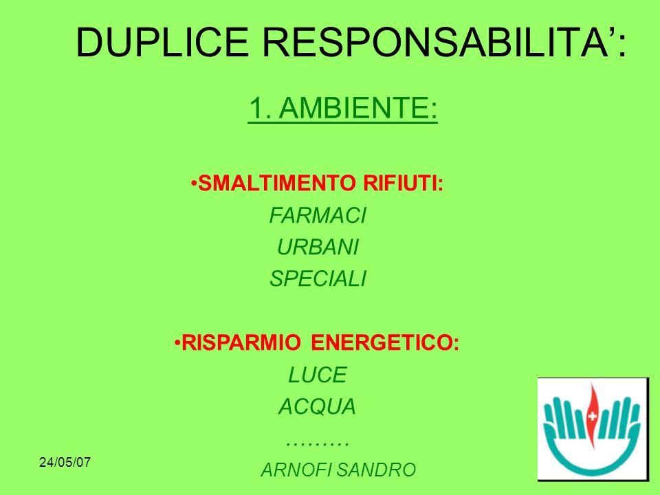 24/05/07 DUPLICE RESPONSABILITA: ARNOFI SANDRO SMALTIMENTO RIFIUTI: FARMACI URBANI SPECIALI RISPARMIO ENERGETICO: LUCE ACQUA ……… 1.