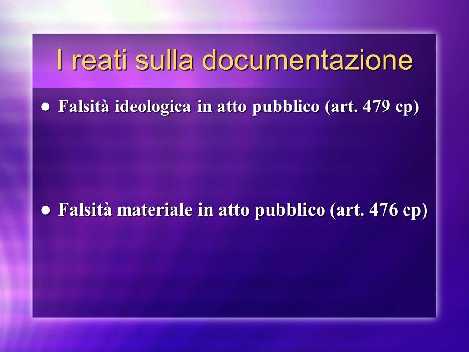 I reati sulla documentazione Falsità ideologica in atto pubblico (art. 479 cp) Falsità ideologica in atto pubblico (art. 479 cp) Falsità materiale in