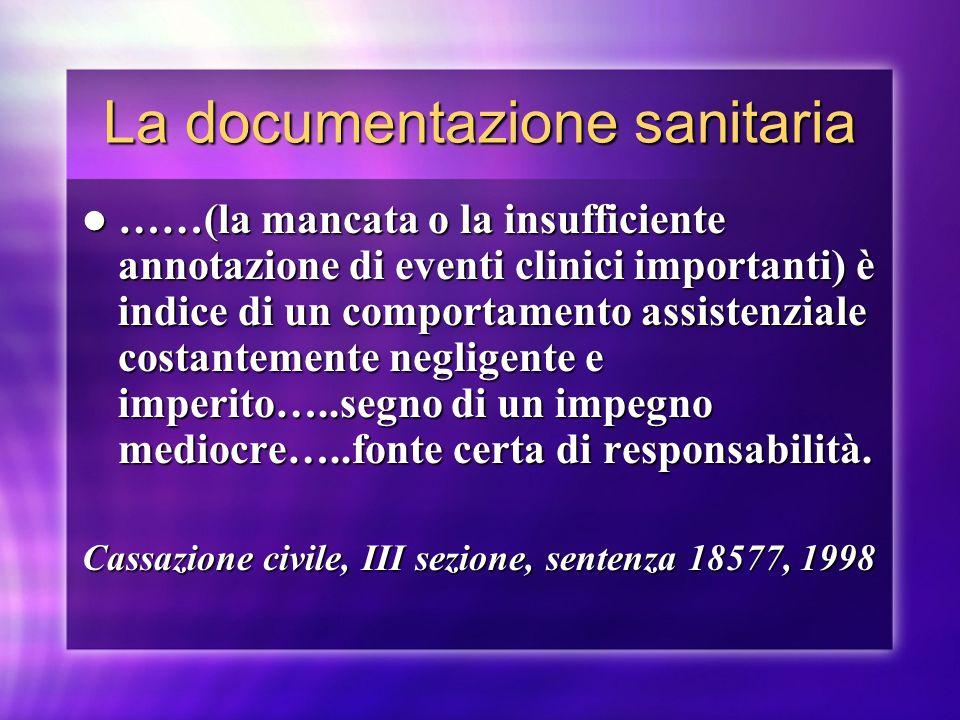 La documentazione sanitaria ……(la mancata o la insufficiente annotazione di eventi clinici importanti) è indice di un comportamento assistenziale cost