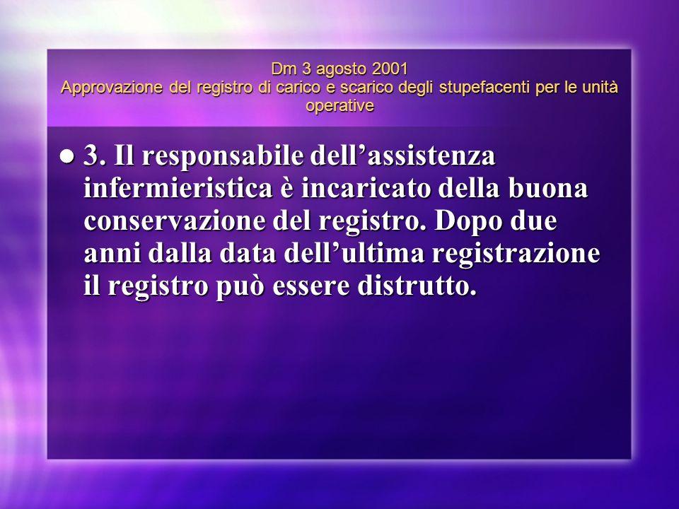 Dm 3 agosto 2001 Approvazione del registro di carico e scarico degli stupefacenti per le unità operative 3. Il responsabile dellassistenza infermieris