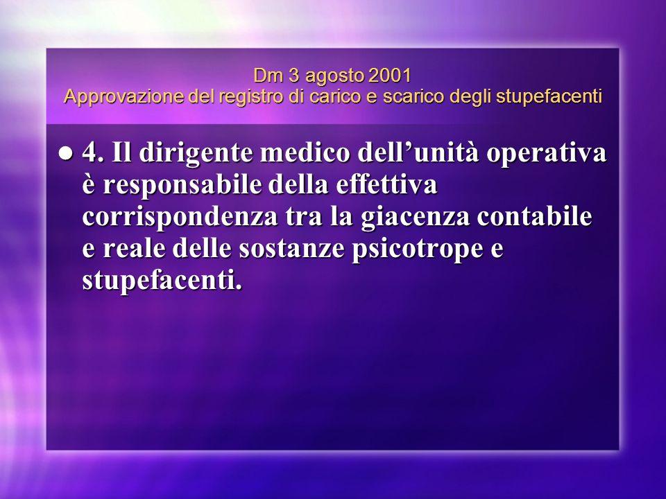 Dm 3 agosto 2001 Approvazione del registro di carico e scarico degli stupefacenti 4. Il dirigente medico dellunità operativa è responsabile della effe