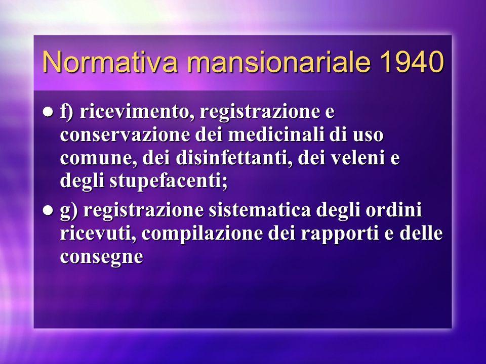 Normativa mansionariale 1940 f) ricevimento, registrazione e conservazione dei medicinali di uso comune, dei disinfettanti, dei veleni e degli stupefa