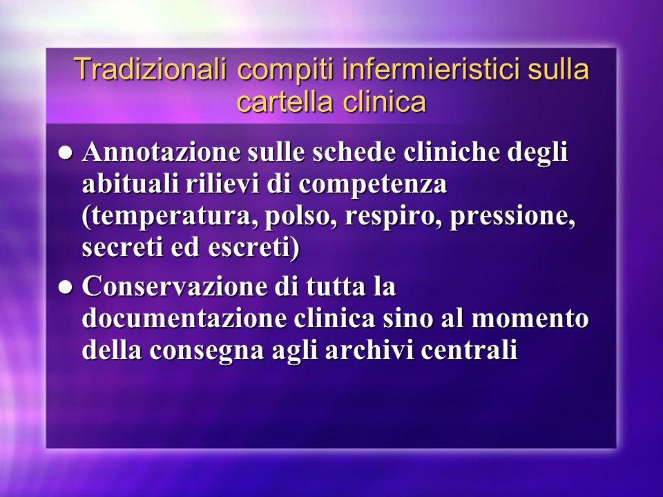 Tradizionali compiti infermieristici sulla cartella clinica Annotazione sulle schede cliniche degli abituali rilievi di competenza (temperatura, polso