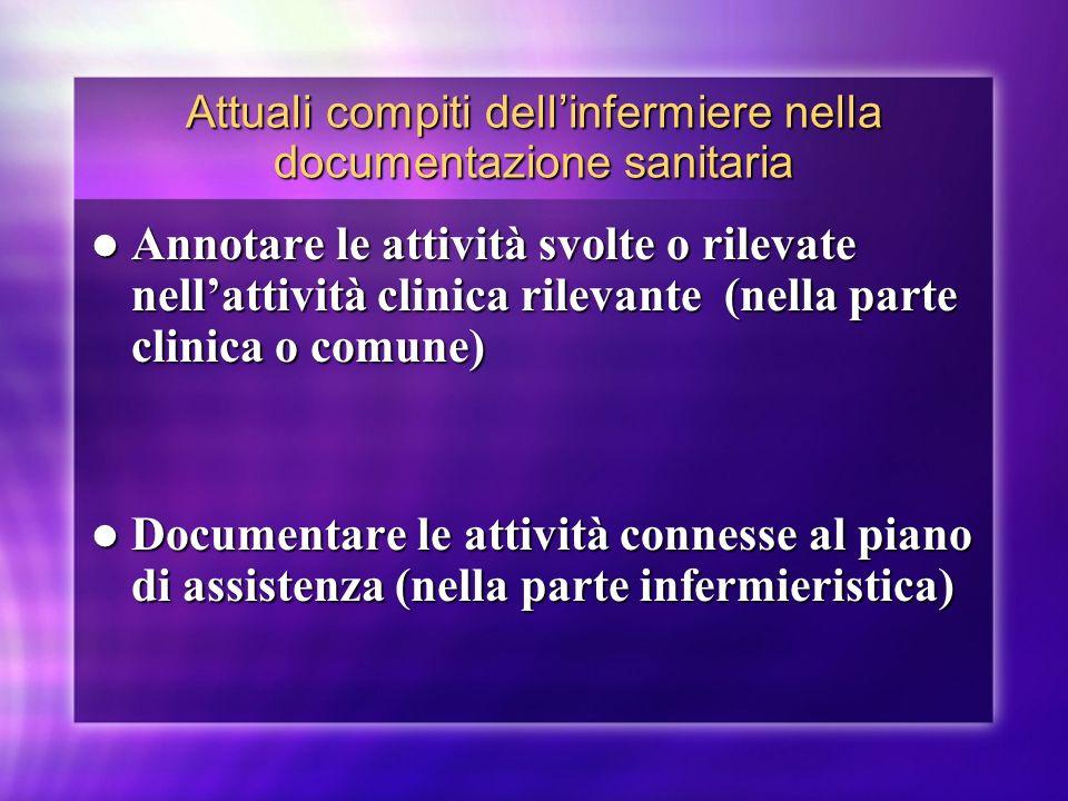 Attuali compiti dellinfermiere nella documentazione sanitaria Annotare le attività svolte o rilevate nellattività clinica rilevante (nella parte clini
