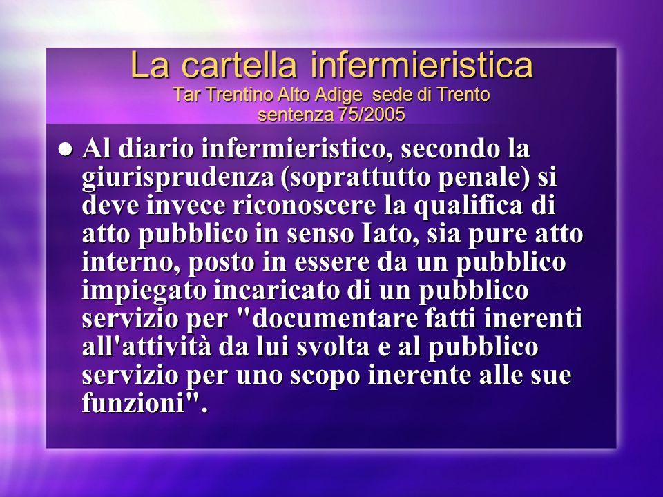 La cartella infermieristica Tar Trentino Alto Adige sede di Trento sentenza 75/2005 Al diario infermieristico, secondo la giurisprudenza (soprattutto