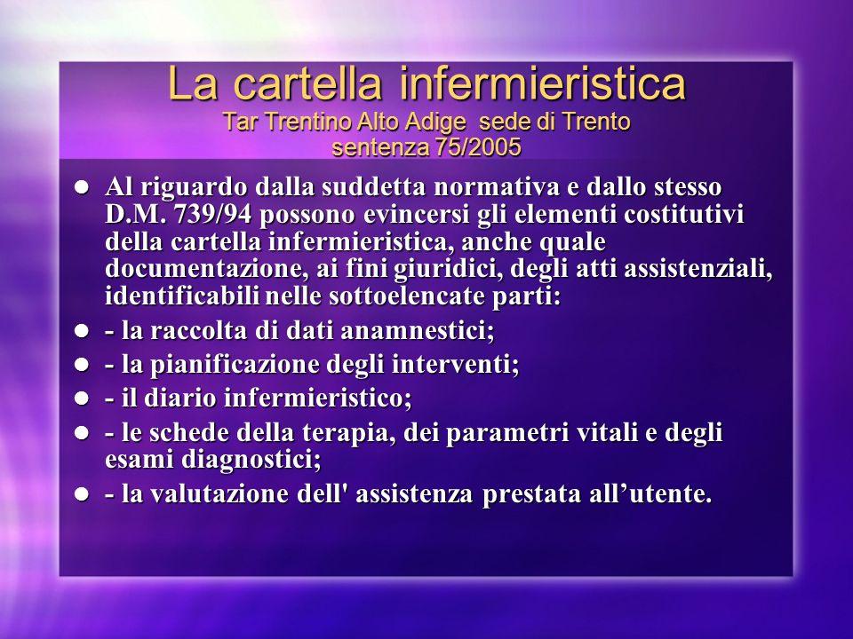 La cartella infermieristica Tar Trentino Alto Adige sede di Trento sentenza 75/2005 Al riguardo dalla suddetta normativa e dallo stesso D.M. 739/94 po