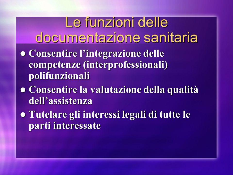 Le funzioni delle documentazione sanitaria Consentire lintegrazione delle competenze (interprofessionali) polifunzionali Consentire lintegrazione dell