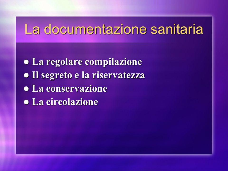 La documentazione sanitaria La regolare compilazione La regolare compilazione Il segreto e la riservatezza Il segreto e la riservatezza La conservazio