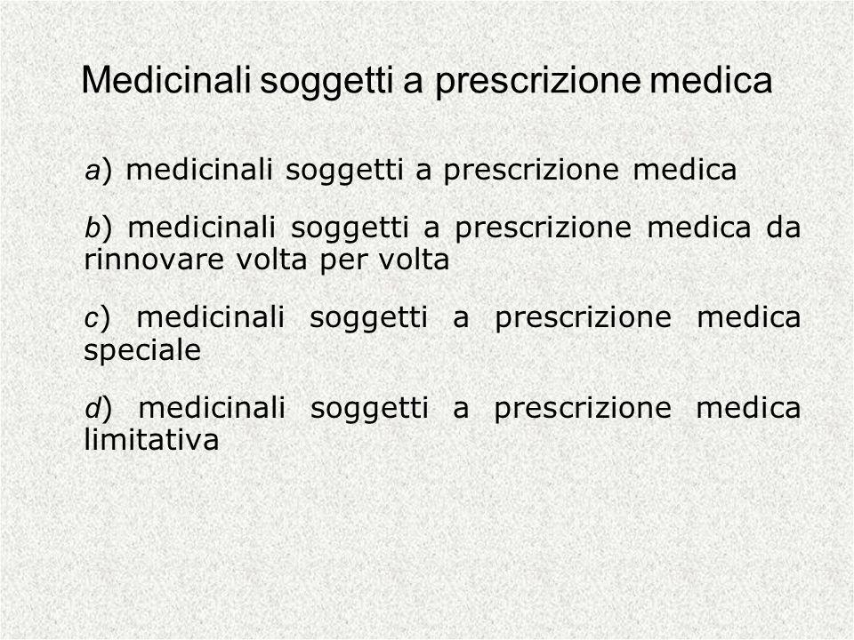 Medicinali soggetti a prescrizione medica a ) medicinali soggetti a prescrizione medica b ) medicinali soggetti a prescrizione medica da rinnovare vol
