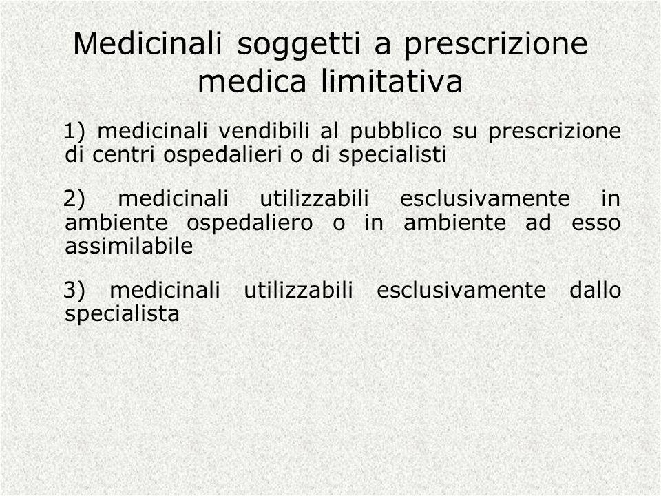 M edicinali soggetti a prescrizione medica limitativa 1) medicinali vendibili al pubblico su prescrizione di centri ospedalieri o di specialisti 2) me