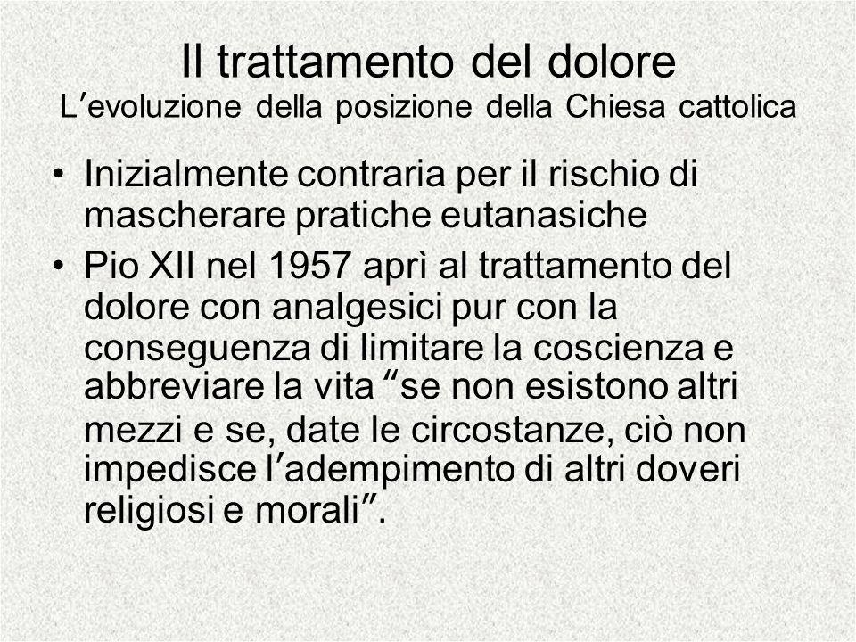 Il trattamento del dolore Levoluzione della posizione della Chiesa cattolica Inizialmente contraria per il rischio di mascherare pratiche eutanasiche