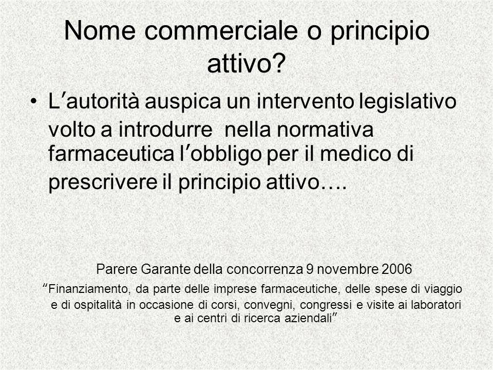 Nome commerciale o principio attivo? Lautorità auspica un intervento legislativo volto a introdurre nella normativa farmaceutica lobbligo per il medic