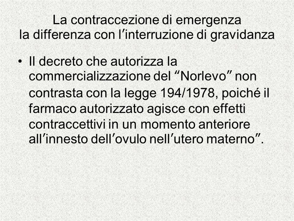 La contraccezione di emergenza la differenza con linterruzione di gravidanza Il decreto che autorizza la commercializzazione del Norlevo non contrasta