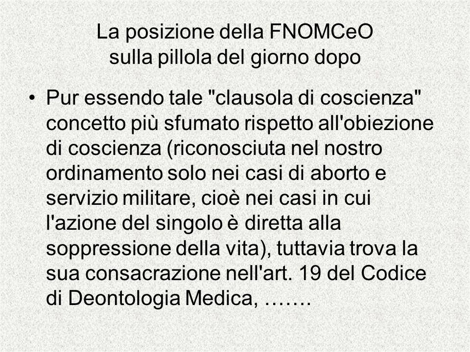 La posizione della FNOMCeO sulla pillola del giorno dopo Pur essendo tale