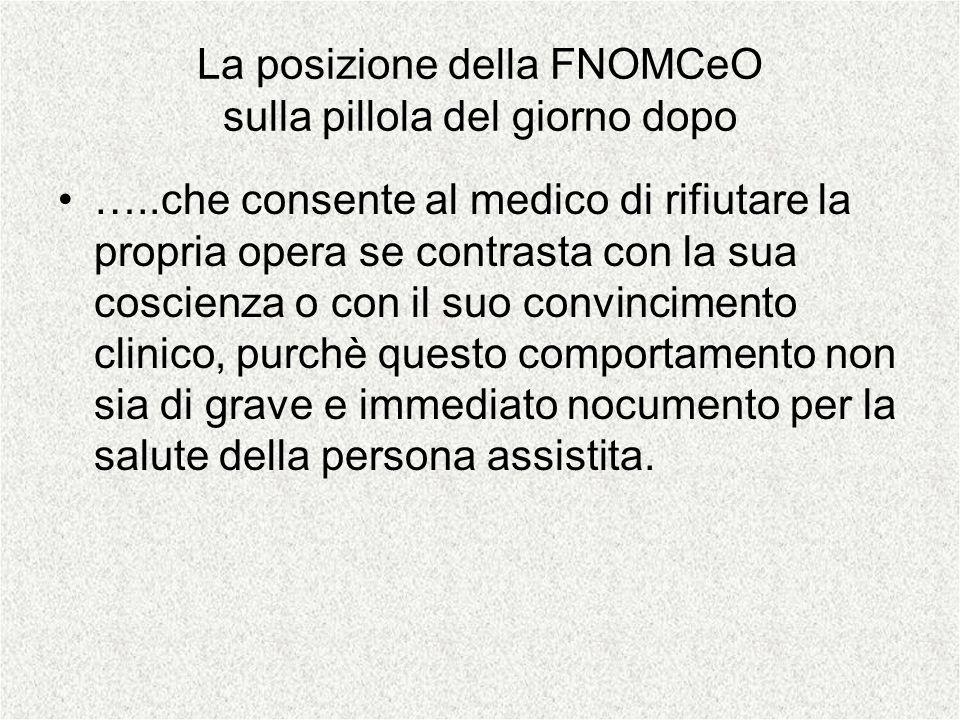 La posizione della FNOMCeO sulla pillola del giorno dopo …..che consente al medico di rifiutare la propria opera se contrasta con la sua coscienza o c