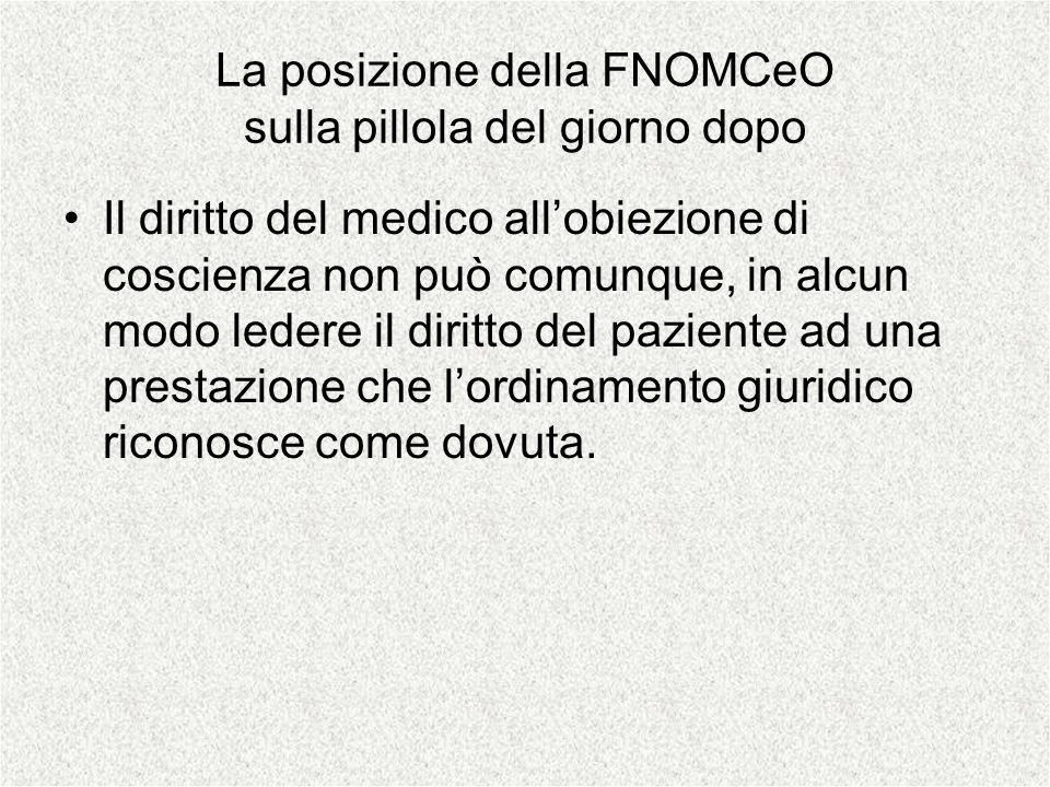 La posizione della FNOMCeO sulla pillola del giorno dopo Il diritto del medico allobiezione di coscienza non può comunque, in alcun modo ledere il dir