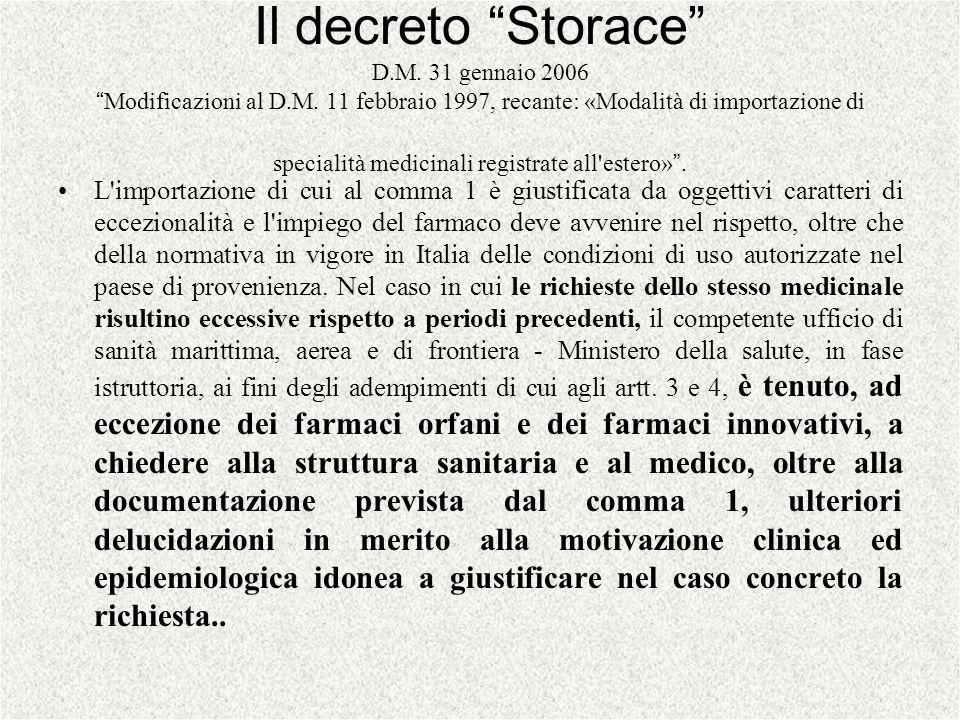 Il decreto Storace D.M. 31 gennaio 2006Modificazioni al D.M. 11 febbraio 1997, recante: «Modalità di importazione di specialità medicinali registrate