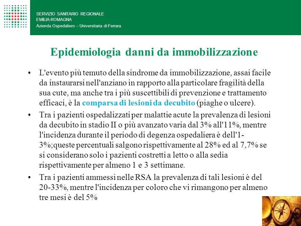 Epidemiologia danni da immobilizzazione SERVIZIO SANITARIO REGIONALE EMILIA-ROMAGNA Azienda Ospedaliero – Universitaria di Ferrara L'evento più temuto