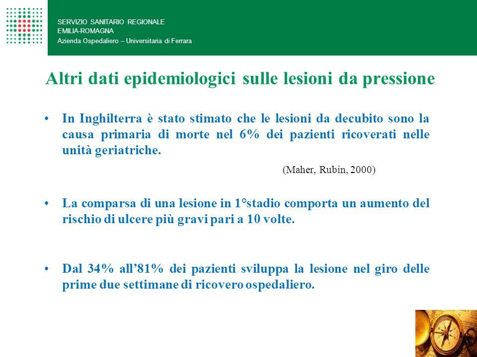 Altri dati epidemiologici sulle lesioni da pressione SERVIZIO SANITARIO REGIONALE EMILIA-ROMAGNA Azienda Ospedaliero – Universitaria di Ferrara In Ing