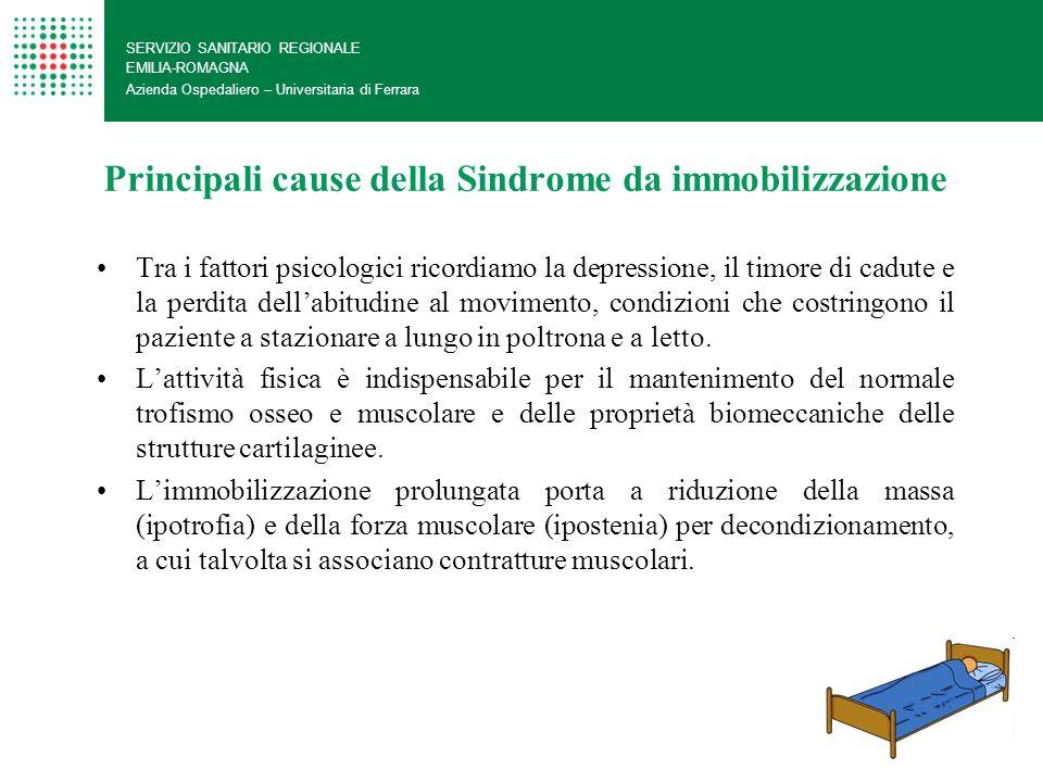 Principali cause della Sindrome da immobilizzazione SERVIZIO SANITARIO REGIONALE EMILIA-ROMAGNA Azienda Ospedaliero – Universitaria di Ferrara Tra i f