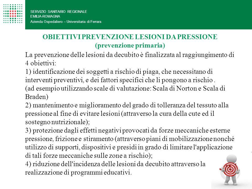 SERVIZIO SANITARIO REGIONALE EMILIA-ROMAGNA Azienda Ospedaliero – Universitaria di Ferrara OBIETTIVI PREVENZIONE LESIONI DA PRESSIONE (prevenzione pri