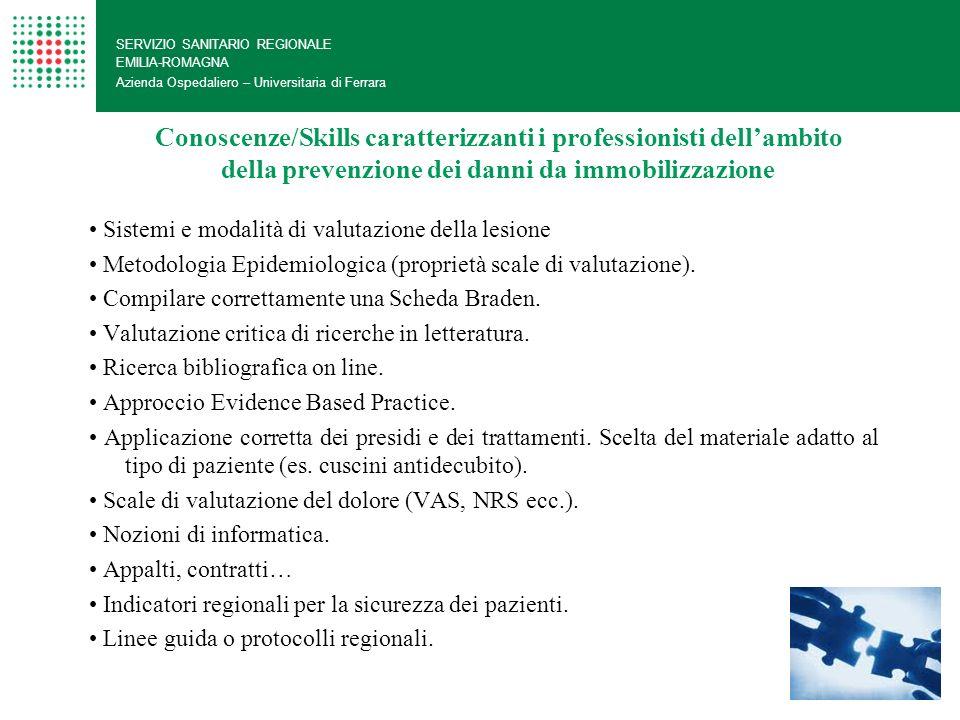 Conoscenze/Skills caratterizzanti i professionisti dellambito della prevenzione dei danni da immobilizzazione SERVIZIO SANITARIO REGIONALE EMILIA-ROMA