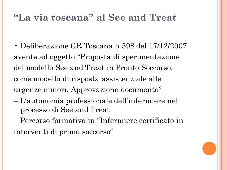 La via toscana al See and Treat Deliberazione GR Toscana n.598 del 17/12/2007 avente ad oggetto Proposta di sperimentazione del modello See and Treat