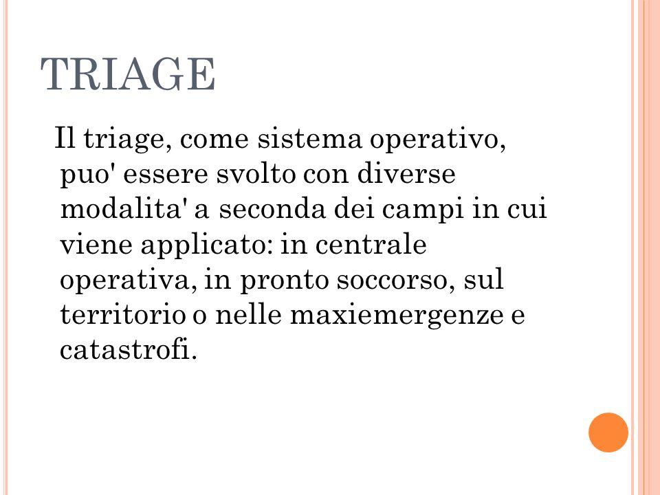 TRIAGE Il triage, come sistema operativo, puo' essere svolto con diverse modalita' a seconda dei campi in cui viene applicato: in centrale operativa,