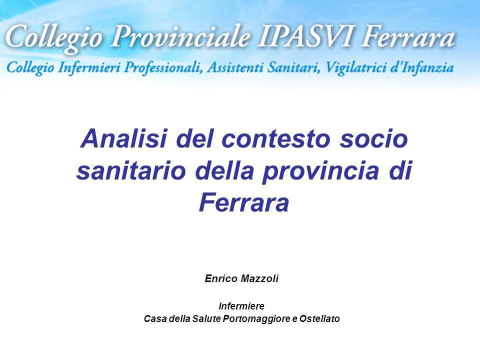 Analisi del contesto socio sanitario della provincia di Ferrara Enrico Mazzoli Infermiere Casa della Salute Portomaggiore e Ostellato