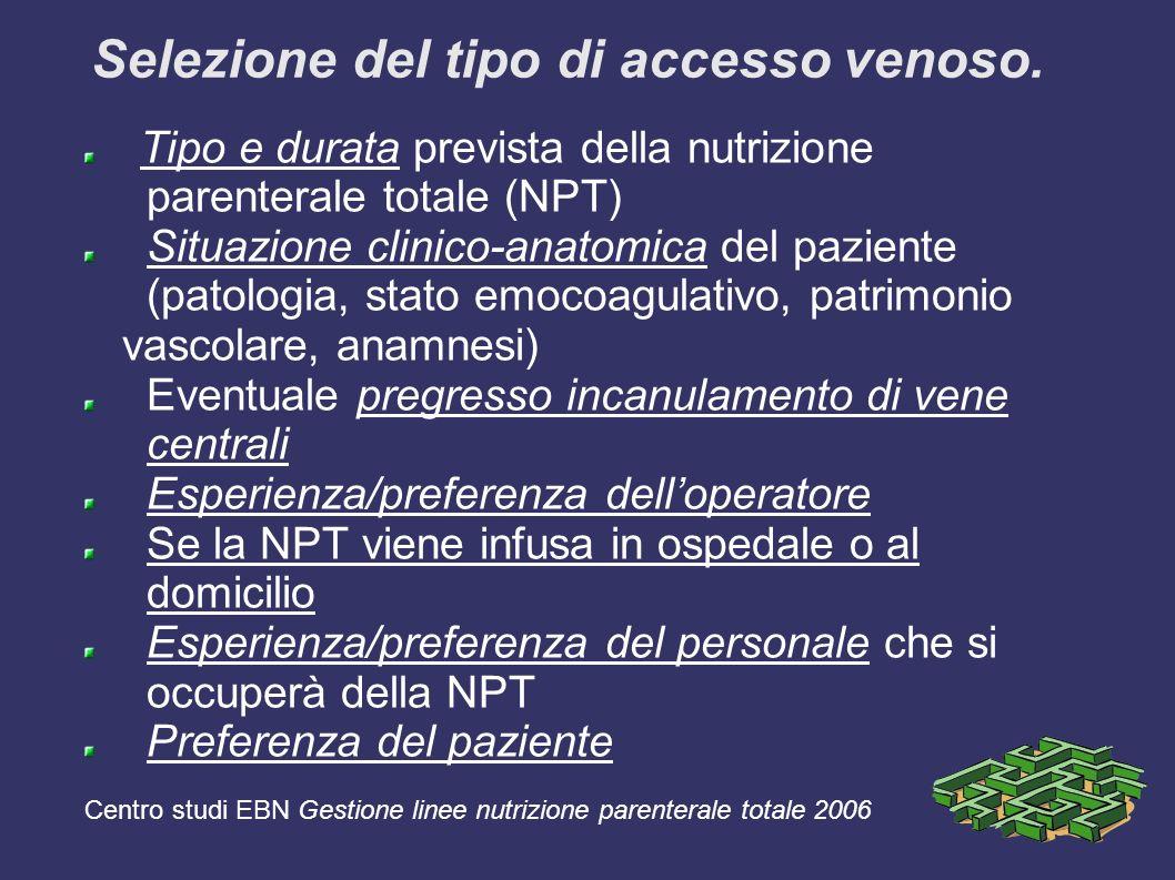 Selezione del tipo di accesso venoso. Tipo e durata prevista della nutrizione parenterale totale (NPT) Situazione clinico-anatomica del paziente (pato