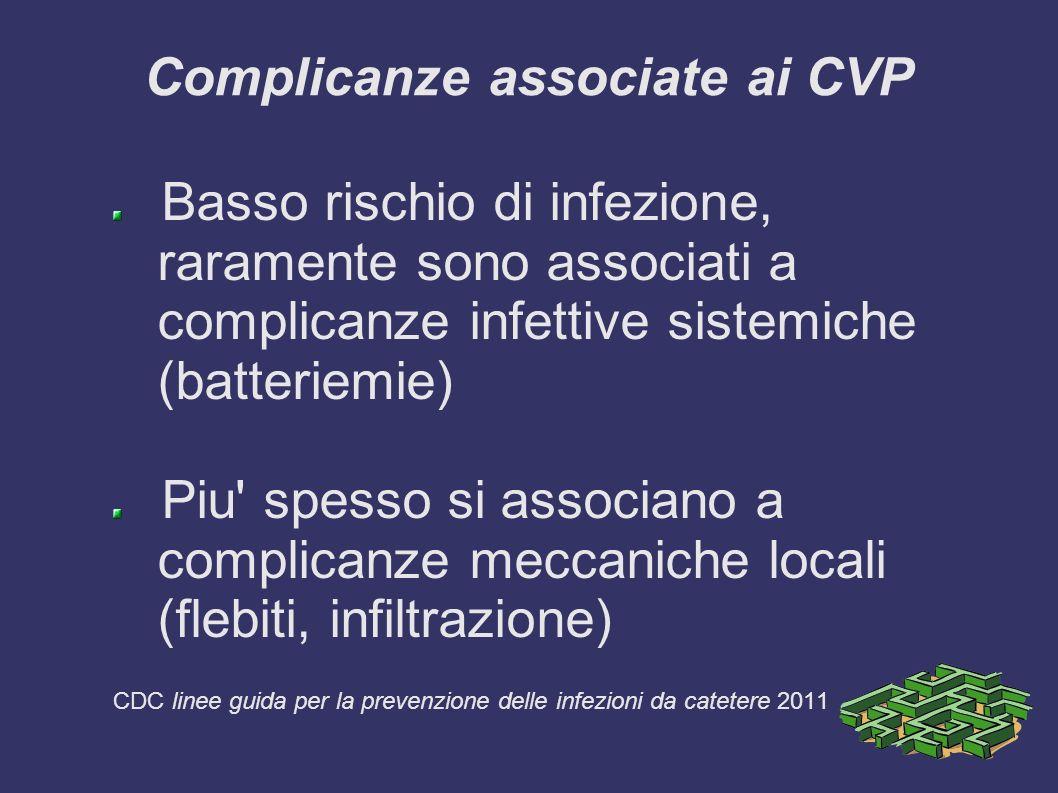 Complicanze associate ai CVP Basso rischio di infezione, raramente sono associati a complicanze infettive sistemiche (batteriemie) Piu spesso si associano a complicanze meccaniche locali (flebiti, infiltrazione) CDC linee guida per la prevenzione delle infezioni da catetere 2011