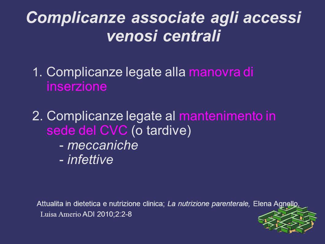 Complicanze associate agli accessi venosi centrali 1.