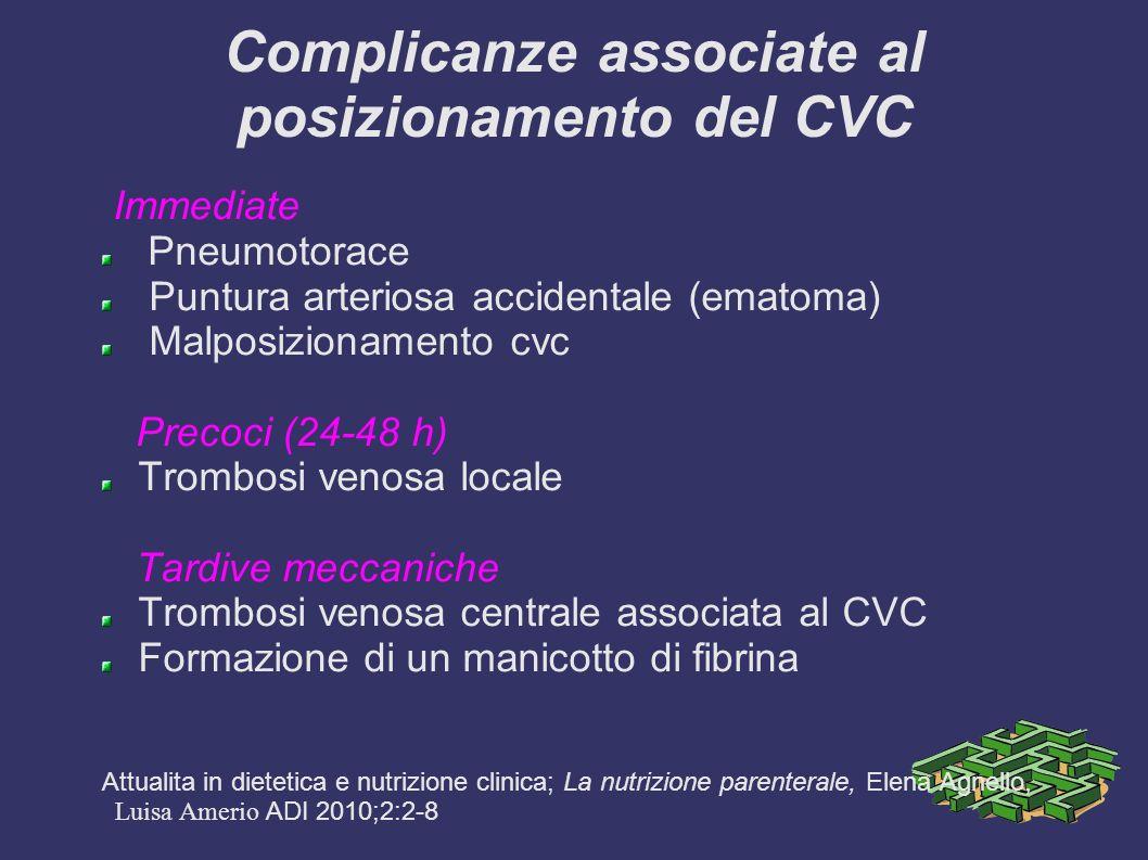 Complicanze associate al posizionamento del CVC Immediate Pneumotorace Puntura arteriosa accidentale (ematoma) Malposizionamento cvc Precoci (24-48 h) Trombosi venosa locale Tardive meccaniche Trombosi venosa centrale associata al CVC Formazione di un manicotto di fibrina Attualita in dietetica e nutrizione clinica; La nutrizione parenterale, Elena Agnello, Luisa Amerio ADI 2010;2:2-8