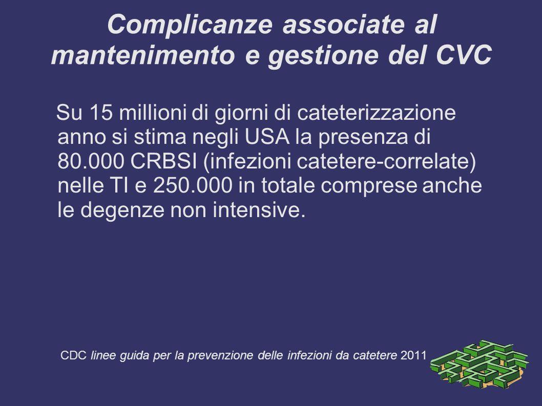 Complicanze associate al mantenimento e gestione del CVC Su 15 millioni di giorni di cateterizzazione anno si stima negli USA la presenza di 80.000 CR