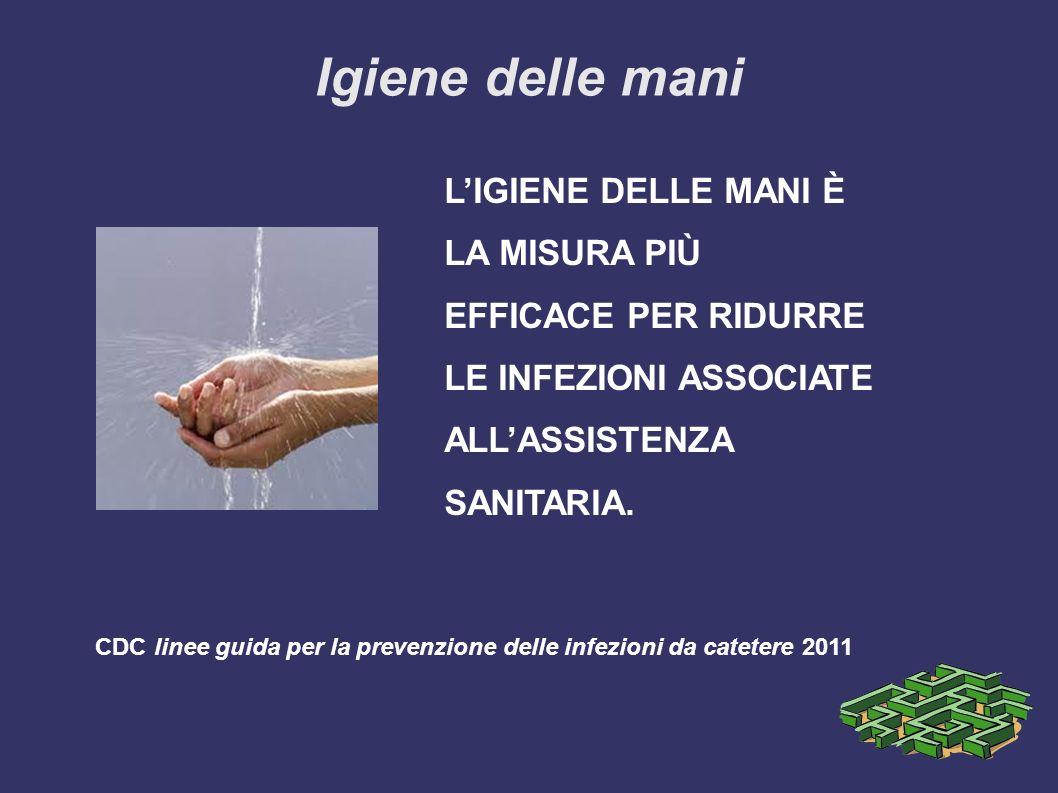 Igiene delle mani LIGIENE DELLE MANI È LA MISURA PIÙ EFFICACE PER RIDURRE LE INFEZIONI ASSOCIATE ALLASSISTENZA SANITARIA.