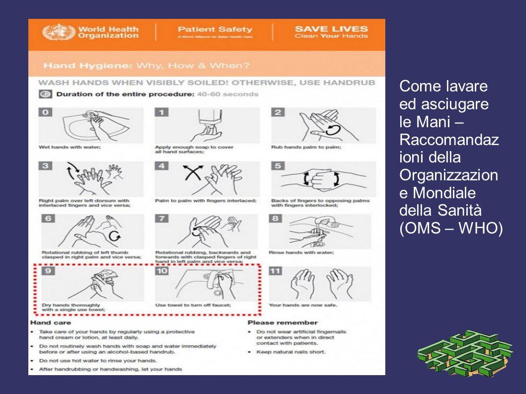 Come lavare ed asciugare le Mani – Raccomandaz ioni della Organizzazion e Mondiale della Sanità (OMS – WHO)