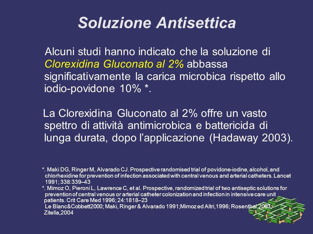 Soluzione Antisettica Alcuni studi hanno indicato che la soluzione di Clorexidina Gluconato al 2% abbassa significativamente la carica microbica rispetto allo iodio-povidone 10% *.
