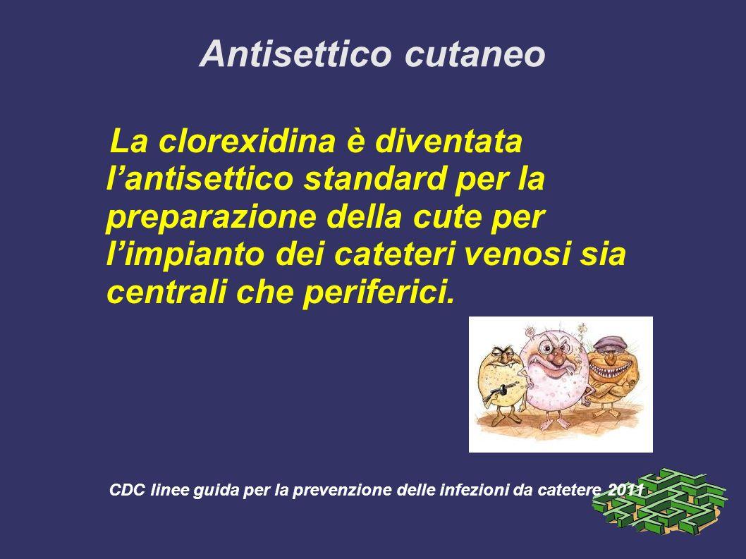 Antisettico cutaneo La clorexidina è diventata lantisettico standard per la preparazione della cute per limpianto dei cateteri venosi sia centrali che periferici.