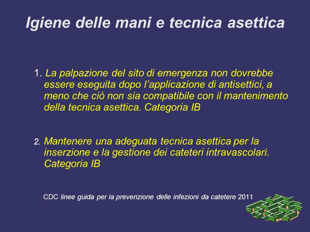 Igiene delle mani e tecnica asettica 1. La palpazione del sito di emergenza non dovrebbe essere eseguita dopo lapplicazione di antisettici, a meno che