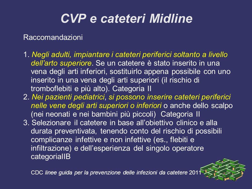 CVP e cateteri Midline Raccomandazioni 1. Negli adulti, impiantare i cateteri periferici soltanto a livello dellarto superiore. Se un catetere è stato