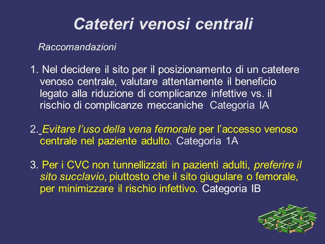 Cateteri venosi centrali Raccomandazioni 1. Nel decidere il sito per il posizionamento di un catetere venoso centrale, valutare attentamente il benefi