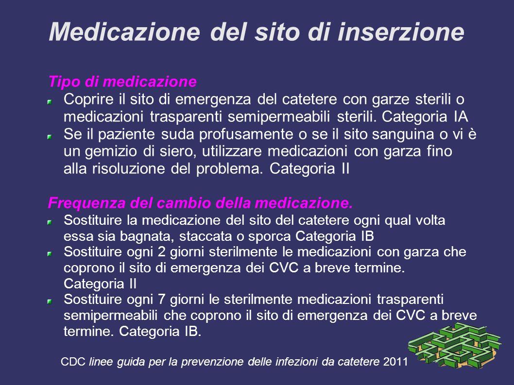 Medicazione del sito di inserzione Tipo di medicazione Coprire il sito di emergenza del catetere con garze sterili o medicazioni trasparenti semipermeabili sterili.