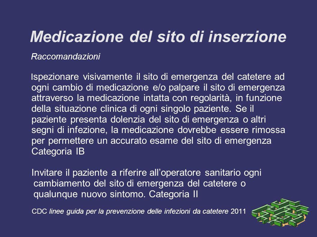 Medicazione del sito di inserzione Raccomandazioni I spezionare visivamente il sito di emergenza del catetere ad ogni cambio di medicazione e/o palpar