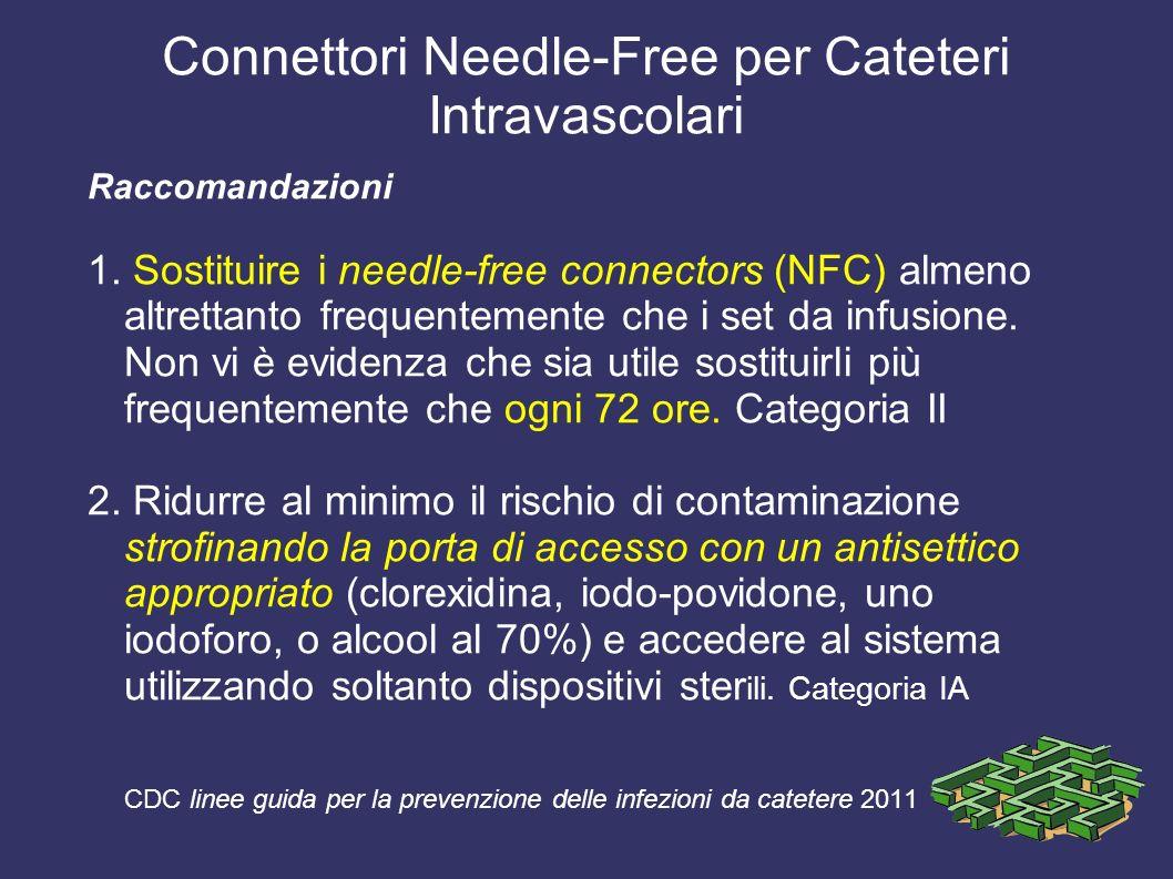Connettori Needle-Free per Cateteri Intravascolari Raccomandazioni 1. Sostituire i needle-free connectors (NFC) almeno altrettanto frequentemente che