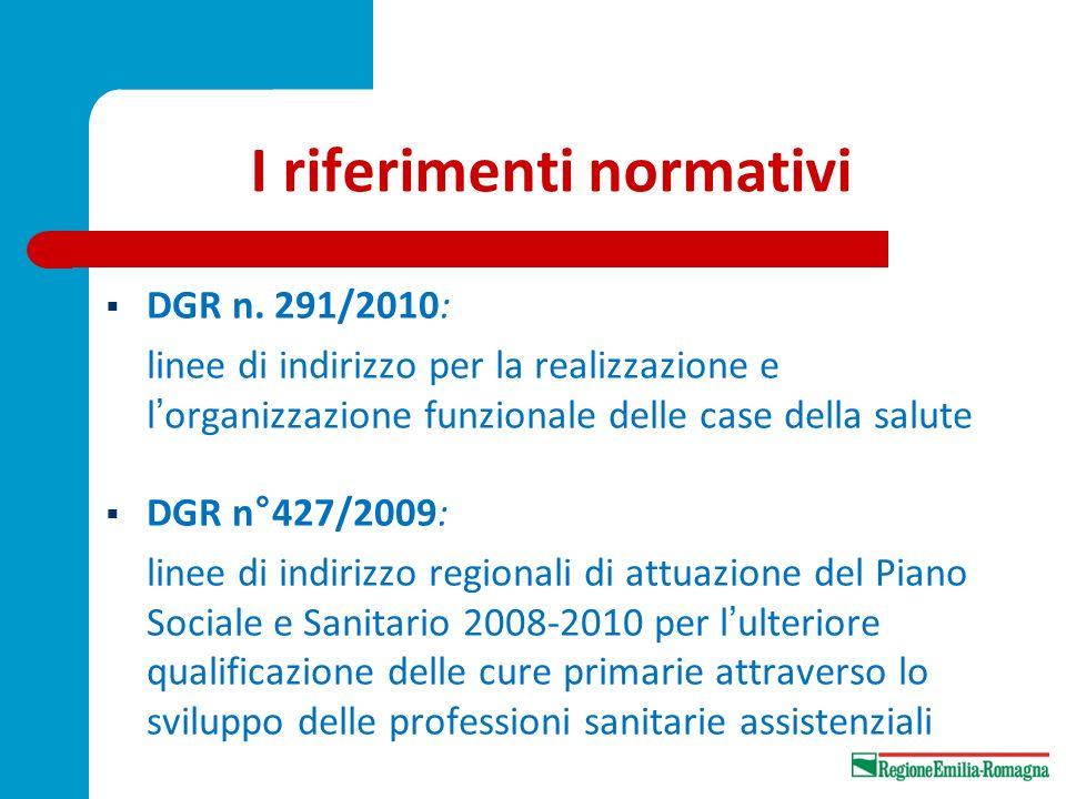 I riferimenti normativi DGR n. 291/2010: linee di indirizzo per la realizzazione e lorganizzazione funzionale delle case della salute DGR n°427/2009: