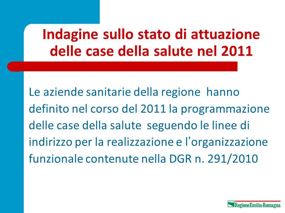 Indagine sullo stato di attuazione delle case della salute nel 2011 Le aziende sanitarie della regione hanno definito nel corso del 2011 la programmaz
